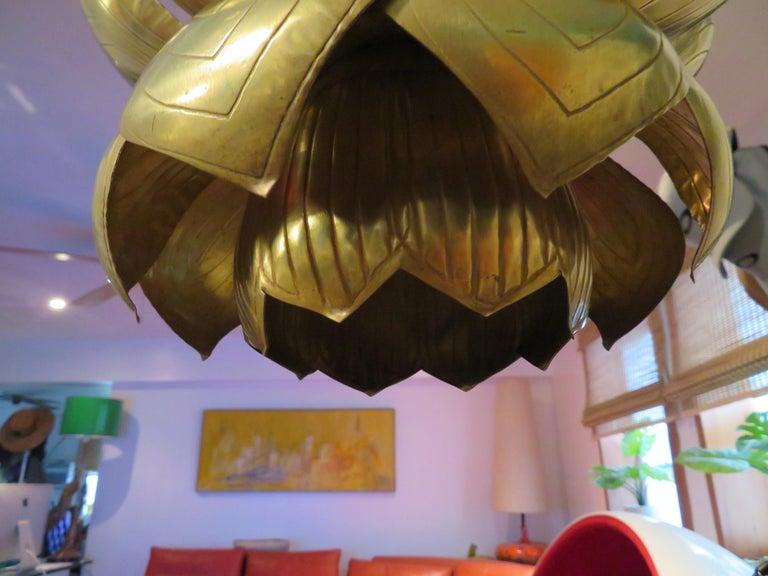 Stunning Etched Brass Feldman Lotus Pendant Light Chandelier Mid-Century Modern For Sale 3