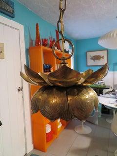 Stunning Etched Brass Feldman Lotus Pendant Light Chandelier Mid-Century Modern