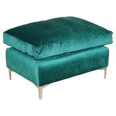 Stunning Ex Display Emerald Green Velvet Large Ottoman Footstool or Bench Seat