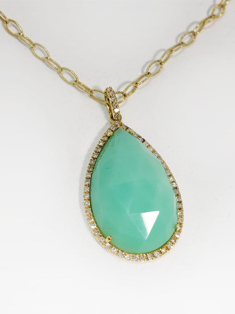 Art Deco Stunning Faceted Chrysoprase & Pave Diamond Pendant Necklace  For Sale