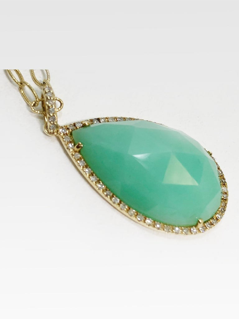 Mixed Cut Stunning Faceted Chrysoprase & Pave Diamond Pendant Necklace  For Sale