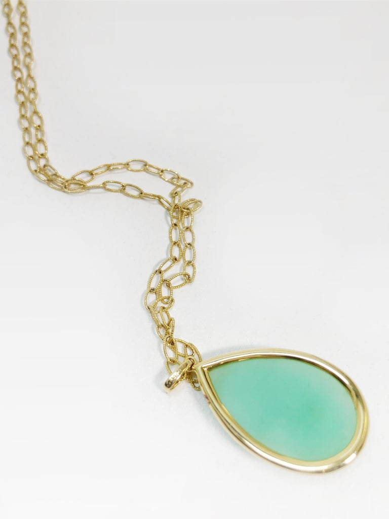 Stunning Faceted Chrysoprase & Pave Diamond Pendant Necklace  In Excellent Condition For Sale In San Francisco, CA