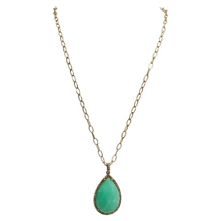 Stunning Faceted Chrysoprase & Pave Diamond Pendant Necklace  For Sale