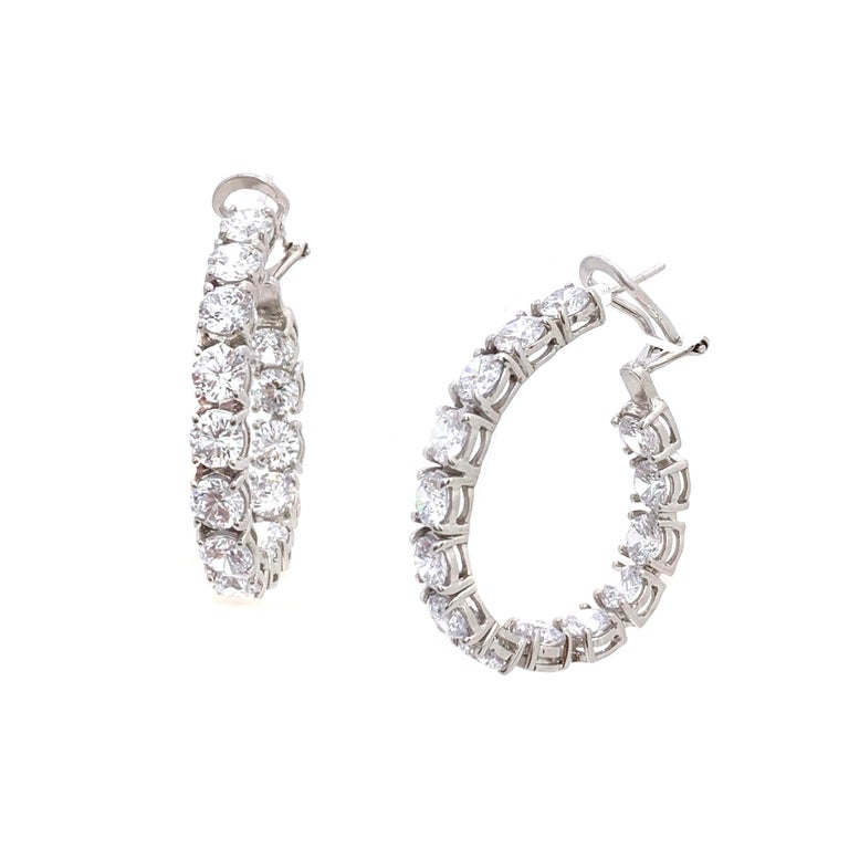 Stunning Faux Diamond Sterling Silver Hoop Earrings. Each stone is equal to a size of 0.5ct, all set facing forward, handset in platinum rhodium plated sterling silver. Straight post with omega clip back. 1.5