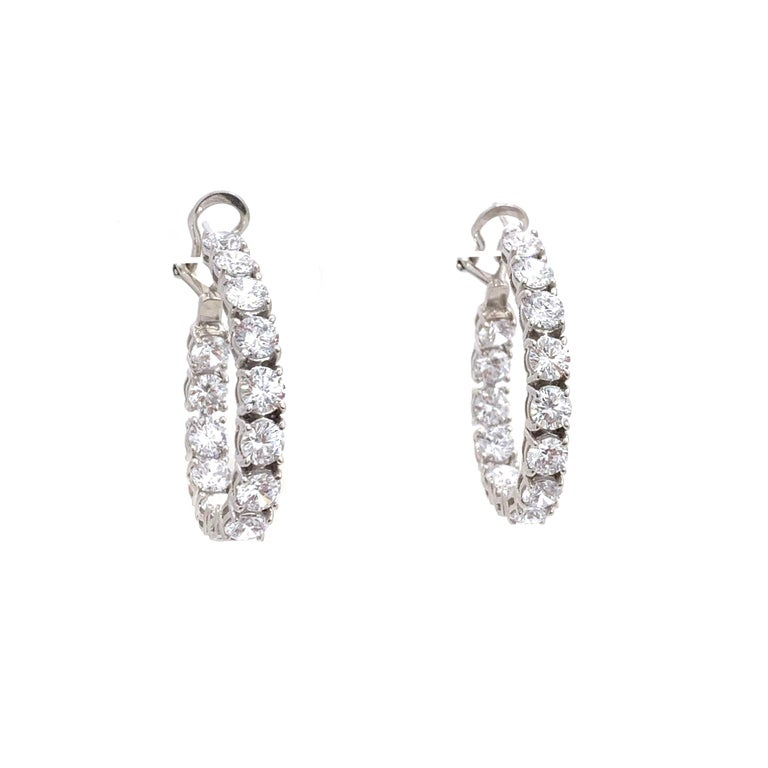 Contemporary Stunning Faux Diamond Sterling Silver Hoop Earrings For Sale