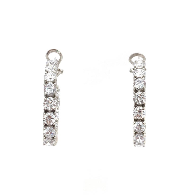 Stunning Faux Diamond Sterling Silver Hoop Earrings In New Condition For Sale In Los Angeles, CA