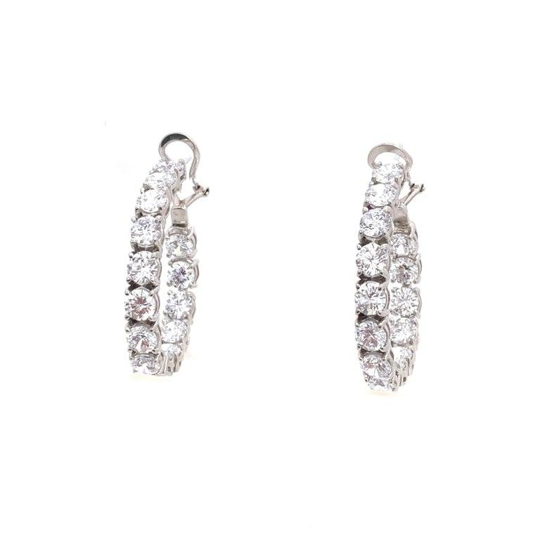 Women's Stunning Faux Diamond Sterling Silver Hoop Earrings For Sale