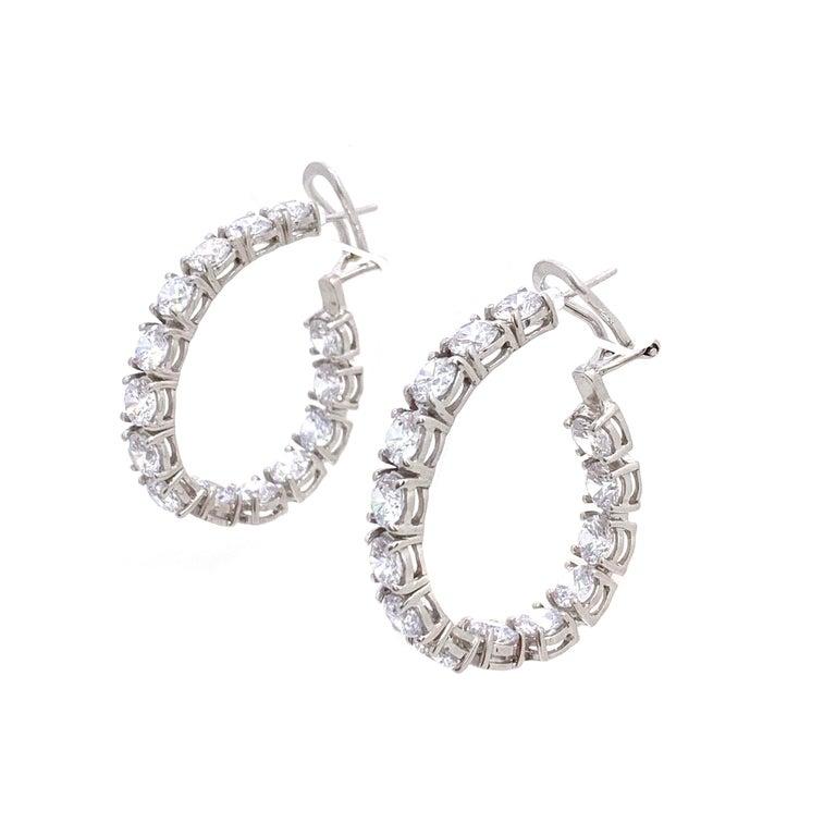 Stunning Faux Diamond Sterling Silver Hoop Earrings For Sale 1