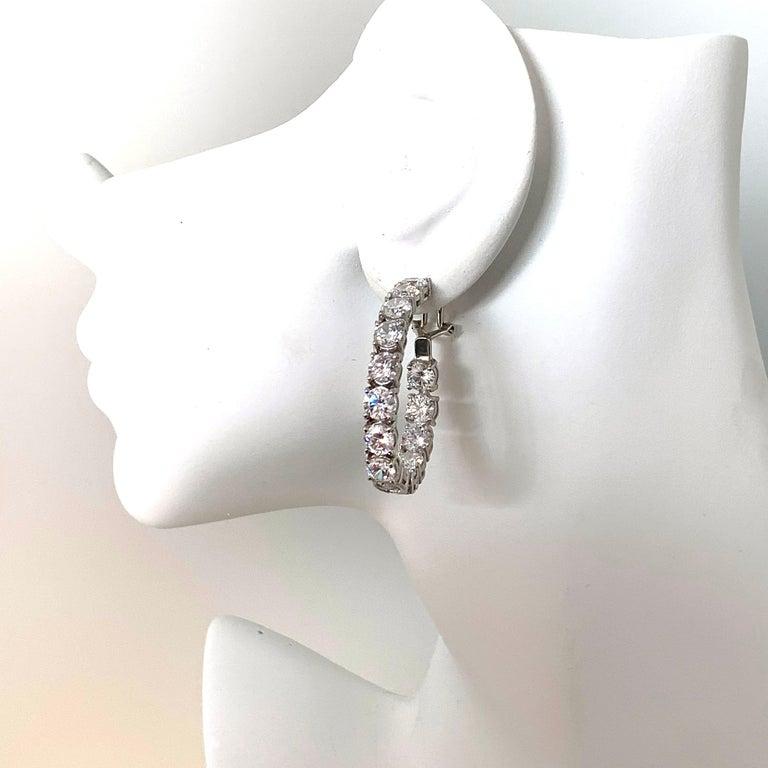 Stunning Faux Diamond Sterling Silver Hoop Earrings For Sale 2