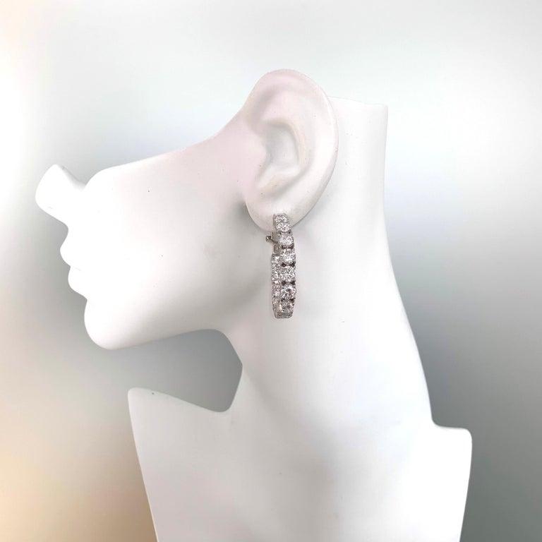 Stunning Faux Diamond Sterling Silver Hoop Earrings For Sale 3