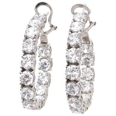 Stunning Faux Diamond Sterling Silver Hoop Earrings