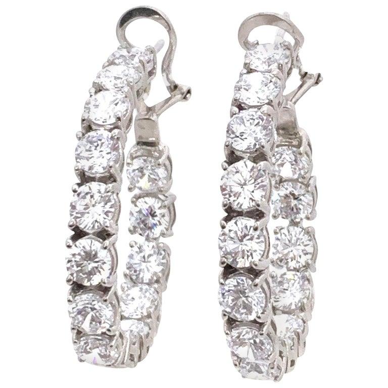 Stunning Faux Diamond Sterling Silver Hoop Earrings For Sale