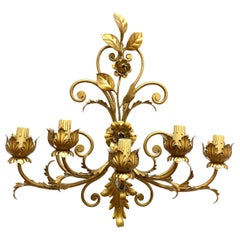 Stunning Five-Light Gilt Metal Leafs Tole Hollywood Regency Sconce, Italy, 1960s