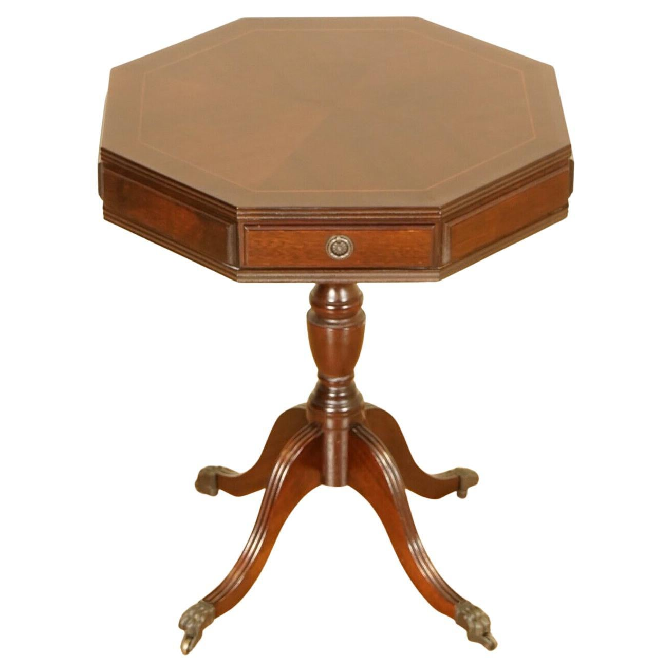 Stunning Flamed Mahogany Drum Side Table with Two Drawers