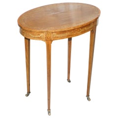 Stunning Floral Inlaid Sheraton Victorian Walnut Oval Occasional Side End Table