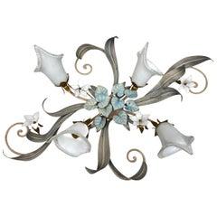 Stunning Florentine Flower and Leaf Flushmount or Wall Light Vintage, Austria