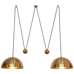 Stunning Florian Schulz Double Posa Brass Pendant Lamp with Side Counter Weights