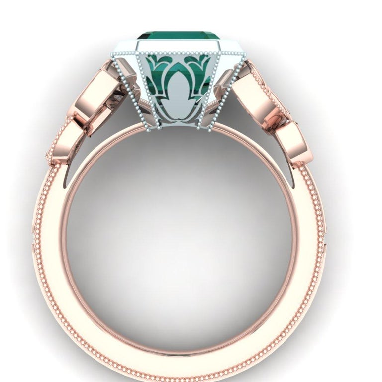 Modern Stunning Forest Green Blue Green 4 Carat Tourmaline and Diamond Rose Gold Ring For Sale