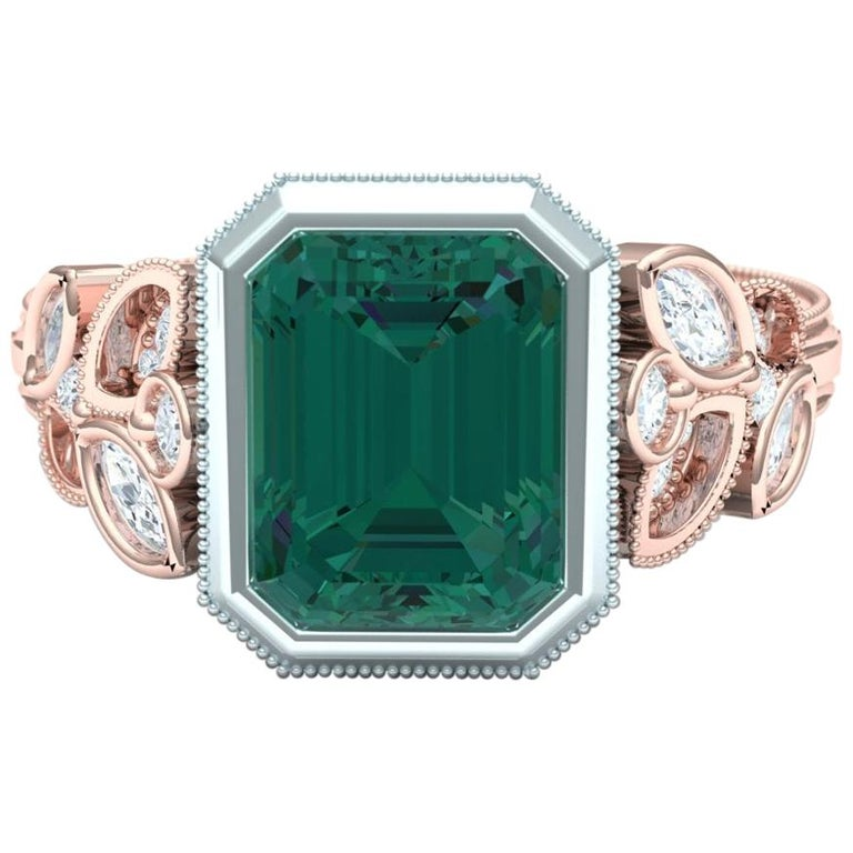 Stunning Forest Green Blue Green 4 Carat Tourmaline and Diamond Rose Gold Ring For Sale