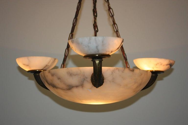 Art Nouveau Stunning Four-Light German Alabaster and Bronze Pendant, circa 1900s For Sale