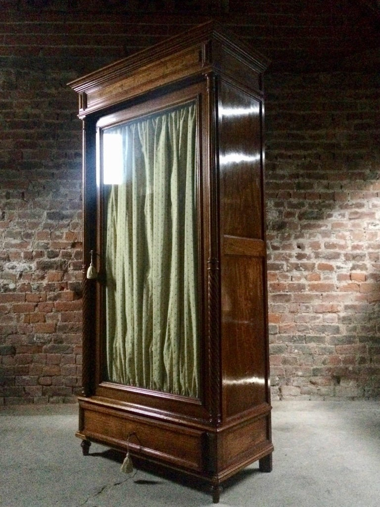 Stunning French Armoire Wardrobe Mahogany Glass Fronted ...