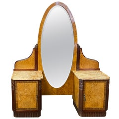Stunning French Art Deco Vanity/ Dressing Table/ Full View Oval Mirror