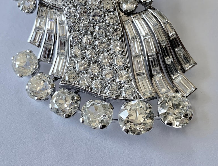 Old Mine Cut Stunning french Diamond 1950 Clip Brooch in Platinum For Sale