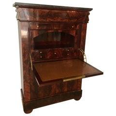 Early 19th Century French Empire Flame Mahogany Drop Front Secretary Desk