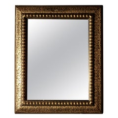 Stunning French Empire Gilt Brass and Black Lacquer Wall Mirror