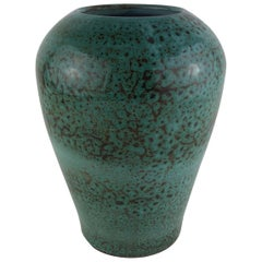 Stunning French Midcentury Vase Turquoise in the Style of Accolay Ceramics