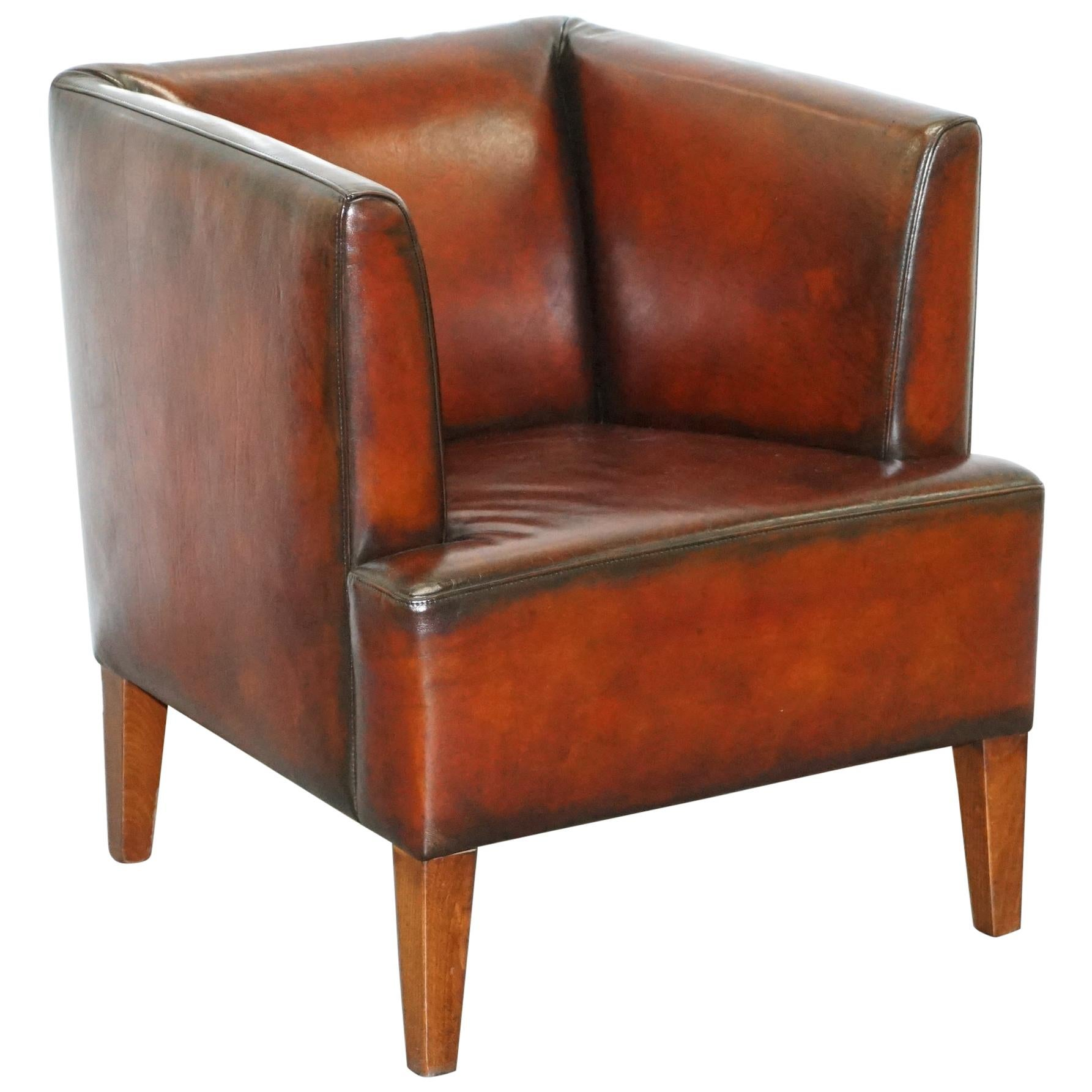 Stunning Full Restored Aged Brown Leather Hand Dyed Contemporary Armchair
