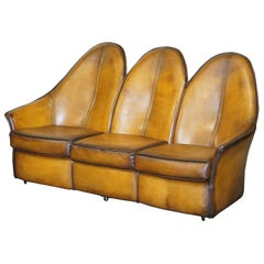 Stunning Fully Restored Art Modern Curved Back Brown Leather Sofa Part of Suite