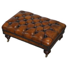 Stunning Fully Restored Chesterfield Brown Leather Hand Dyed Footstool Ottoman