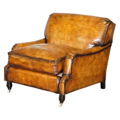 Stunning Fully Restored Crocodile Alligator Brown Leather Howard Club Armchair