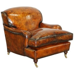 Stunning Fully Restored Vintage Aged Brown Leather Howard Scroll Club Armchair