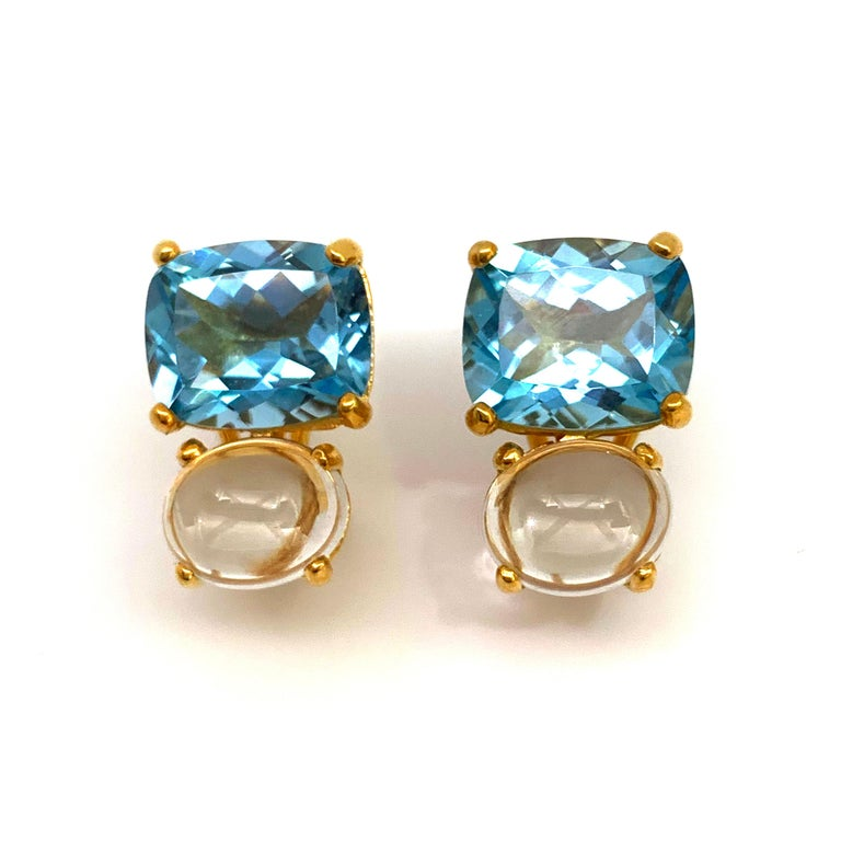Cushion Cut Stunning genuine Cushion-cut Blue Topaz and Oval Prasiolite Vermeil Earrings For Sale