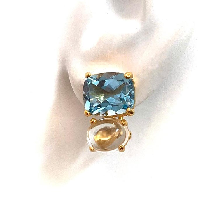 Stunning genuine Cushion-cut Blue Topaz and Oval Prasiolite Vermeil Earrings In New Condition For Sale In Los Angeles, CA