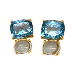 Stunning genuine Cushion-cut Blue Topaz and Oval Prasiolite Vermeil Earrings