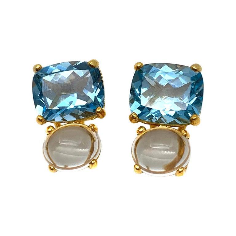Stunning genuine Cushion-cut Blue Topaz and Oval Prasiolite Vermeil Earrings For Sale