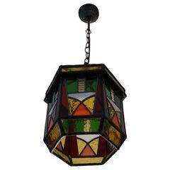 Stunning Geometrical Design and Great Colors, Art Deco Pendant Light Fixture