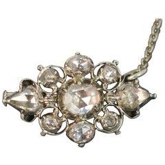 Stunning Georgian 1.8 Carat Rose Cut Diamond 15 Carat Gold Brooch, circa 1780