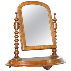 Stunning Georgian Cheval Tabletop Toilet Dressing Table Walnut Plate Mirror