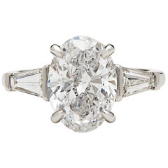 Stunning GIA 3.45 Carat E/VS2 Oval Diamond Ring