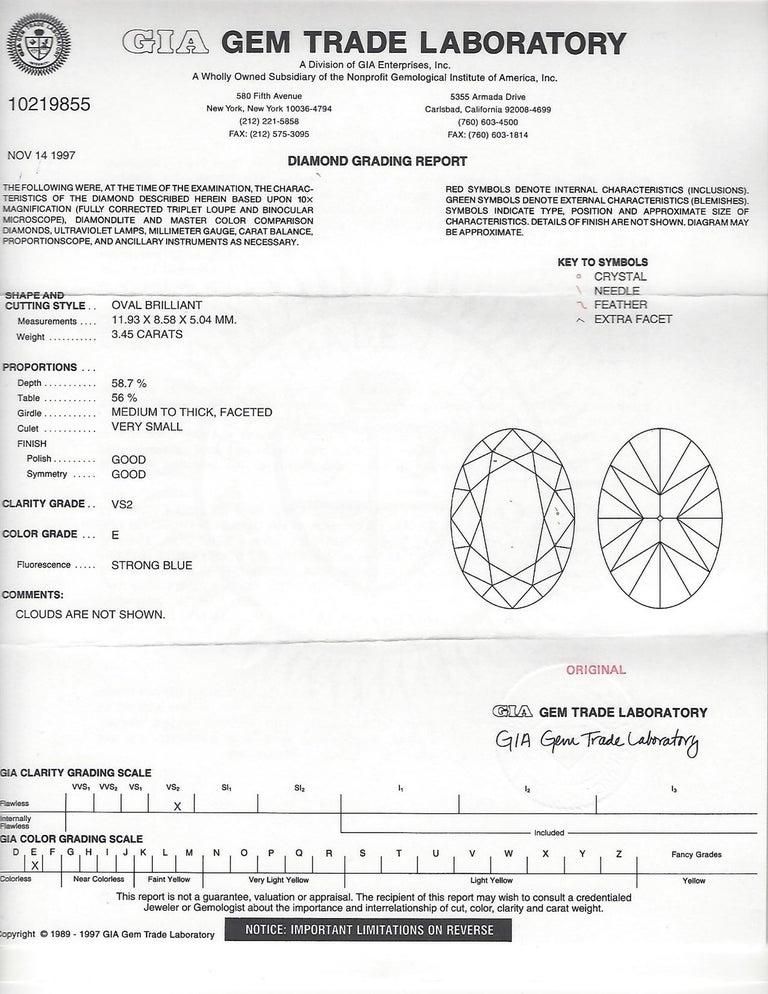 Stunning GIA 3.45 Carat E/VS2 Oval Diamond Ring For Sale 1