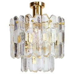 Stunning Gilt Brass, Crystal Glass Light Fixture Palazzo, Kalmar, Austria, 1970s