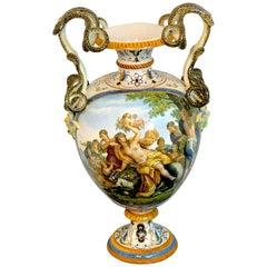Stunning Ginori Majolica Allegorical Serpent Handled Vase Provenance Celine Dion