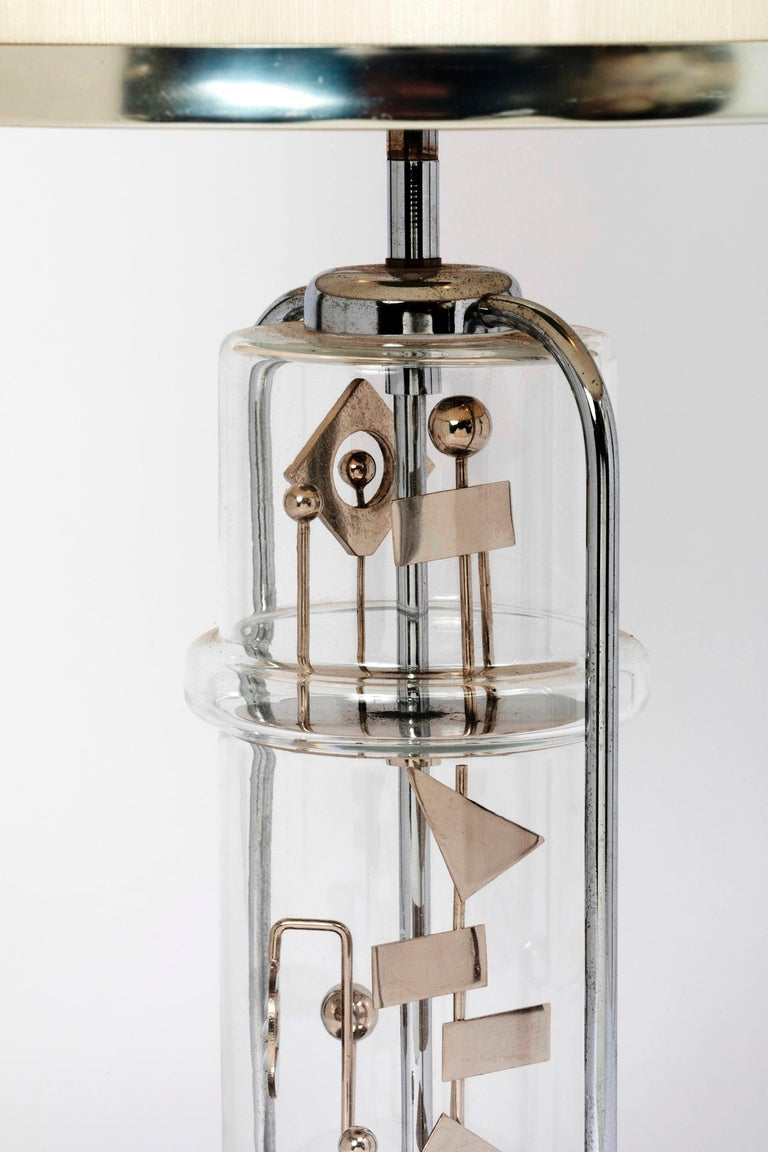 Stunning Glass and Chrome Kinetic Table Lamp , France, 1970s For Sale 1