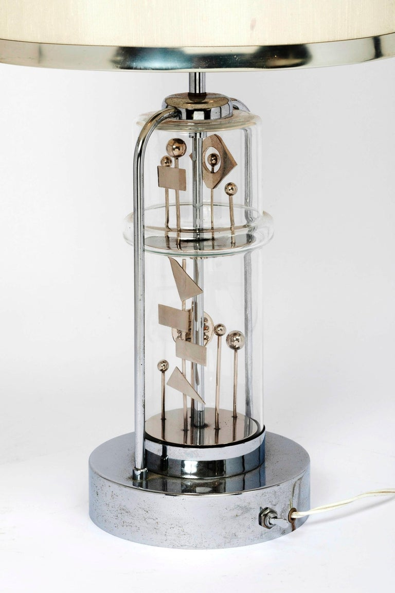 Stunning Glass and Chrome Kinetic Table Lamp , France, 1970s For Sale 3
