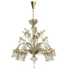 Stunning Gold Dusted Murano Chandelier, by Barovier Toso Murano, Italy, 1960s