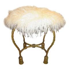 Stunning Gold Gilt Rope Tassel Swivel Vanity Stool Mongolian Lamb Seat